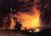 Handpainted Oil painting Albert Bierstadt - Sunset in the Yosemite Valley canvas