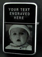 PERSONALISED ANY PHOTO / TEXT ENGRAVED LIGHTER GIFT UK COMES IN A TIN BOX