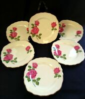6 VTG c1960 Royal Vale Bone China Dk Pink Rose Side Plates | FREE Delivery UK*