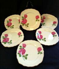 6 VTG c1960 Royal Vale Bone China Dk Pink Rose Side Plates | FREE Delivery UK*