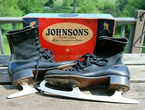 Ice Skates Vintage Johnsons No. 263 Black Size 8