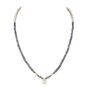 100% Natural Fresh Water Pearl & Tanzania Tanzanite 72.50Ct Gemstone Necklace