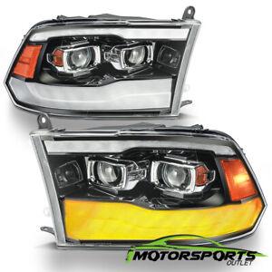 Fit 2009-2018 Dodge Ram1500/2500/3500 Polished Black DRL Projector Headlights