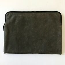 "This Is Ground Leather Zipper Laptop Sleeve 13"" Bomber Veg Tanned Leather"