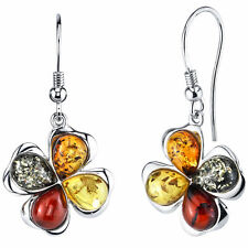 Sterling Silver Baltic Amber Clover Leaf Drop Dangle Earrings Multi-color