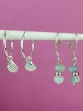 Sterling Silver 2 Pairs Real Aventurine Earrings Hoops & Drops 2.34g Healing