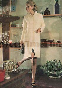 Vintage Crochet Pattern Lady's Coat/Cardigan/Long Jacket. DK Wool