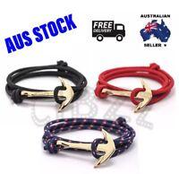 Mens Bracelet Wristband Rope Charm Anchor Hook Wrap Jewellery Accessory