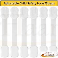 Child Baby Safety Adjustable Locks Straps Latches Cupboard, Cabinet, Door 6 pack