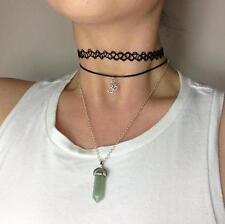 90's Black Tattoo Choker / Ohm Choker / Aventurine Crystal Quartz Necklace SET