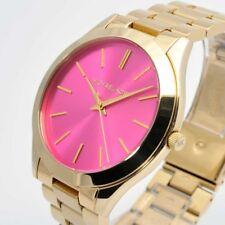 MICHAEL KORS NEW MK3264 Runway Pink Dial Gold Tone Stainless Steel Ladies Watch