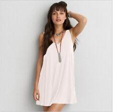 Womens Loose Sexy V-Neck Halterneck Pleated Sundress Beach Dress Plus Size