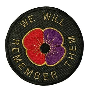 We Will Remember Them Purple and Red Poppy Embroidered Sew or Iron on Patch (A)