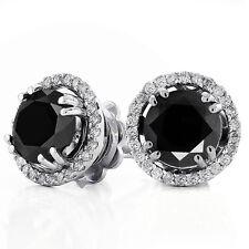 2.50Ct Black & White Diamond Unique Halo Stud Earrings in 14K White Gold