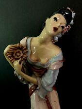 OOAK Hand built and decorated 13 inch Statue Of Latin Woman with Tamborine.