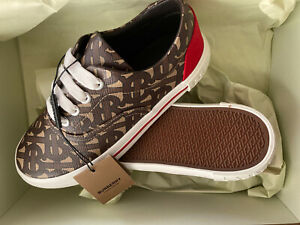 BNIB Burberry Kids Monogram Low Top E-Canvas Trainers UK12.5 EU31