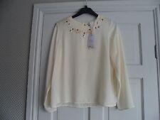 MANGO - Gorgeous ivory hand embellished necklne blouse size 6 bnwts