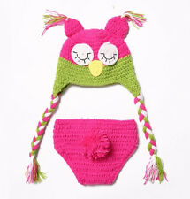 Newborn Boy Girl Baby Crochet Knit Owl Costume Photography Photo Prop Cute Hat