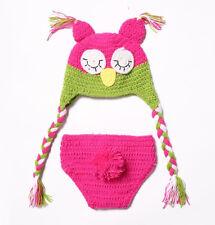 Newborn Kid Baby Cute Crochet Knit Owl Costume Photography Photo Prop Hat