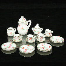 Lot of 15 Red Cherry Porcelain Dollhouse Miniature Coffee Tea pot dish Cup Set