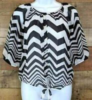 Amy Byer Chevron Blouse Tied Waist Black White Sheer Lined 3/4 Sleeves Size XL