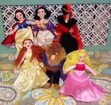 Disney Plush Doll Lot Belle Beast Snow White Jafar Aladdin Cinderella