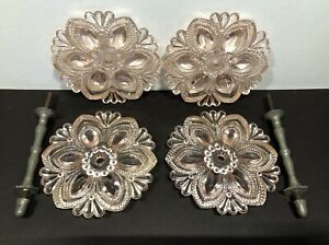 """Westmoreland 4.5"""" Inch Pink Glass Antique Curtain Tie Backs & Pewter Hardware"""