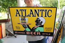 """Atlantic Pilsner Style Beer Bar Tavern Gas Oil 23"""" Embossed Metal Sign"""
