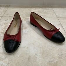 CHANEL Red Black Cap Toe Leather Ballet Flats Shoes 42 12 11