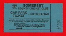 Old Motor Car Parking Ticket ~ Somerset County Cricket Club - 1980s/90s