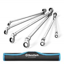 """DURATECH Extra Long Flex-Head Double Box End Ratcheting Wrench Set, SAE, 5/16"""""""