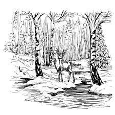 Dos Jays sello co/claro/corzos River/escena/Navidad/desmontado/Sello/ctjj 101
