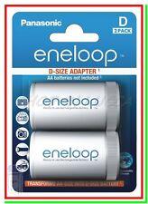 2 Eneloop Panasonic Adattatore Pile Batterie da AA Stilo a D Torcia