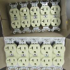 LOT OF 10 HUBBELL 53621 20A, 125V DUPLEX RECEPTACLE, 2 POLE, 3 WIRE COLOR IVORY