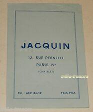 Ancien TARIFS 1963 1964 : DRAGEES JACQUIN Rue Pernelle PARIS - Boites de BAPTEME