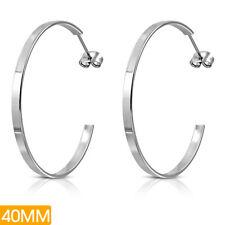 Edelstahl Ohrringe Ø 40mm Halb- Creolen Stainless steel huggie earrings z-ehk027