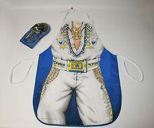 1988 ELVIS PRESLEY Style Vtg Rock Roll King Apron Oven Mitt Mic Sari Fabric Cook