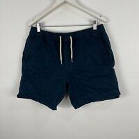 Academy Brand Mens Stubbie Shorts 36 Slim Blue Elastic Waist Drawstring