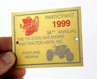 1999 TRI STATE GAS & ENGINE TRACTOR SHOW BRASS PLATE PLAQUE SIGN HIT MISS MOTOR