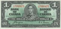 Vintage Canada 1 Dollar Banknote 1937 58e Choice Crisp XF/AU US Seller