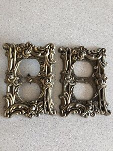 Pair Of Vintage Brass Ornate Rose Design Electrical Outlet Covers AT&HC Brand