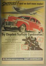 Chrysler Car Ad: Chryslers Top Flight Combination from 1941 Size: 11 x 15 Inches