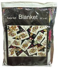 "Queens Playing Cards Casino Poker Super Soft Blanket 50"" x 60"" *"