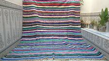 Vintage Moroccan Handmade Boucherouite Rug Multi-Color Carpet Berber Area Rug