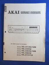 AKAI VS 515U 525U 555U 565U 5151U VHS VIDEO SERVICE MANUAL LARGE ORIGINAL