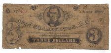 1862 City of Charleston, SC - Three Dollar Obsolete Note No.346 - Sh790