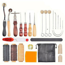 Leather Working Tools Set Hand Sewing Craft Supplies Stitching Groover Awl Lot