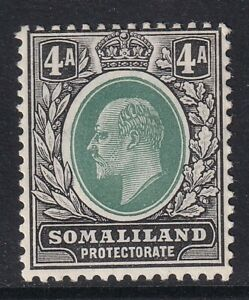 SOMALILAND PROTECTORATE EDVII SG50a, 4a green & black - mounted mint