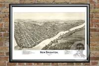 Old Map of New Brighton, PA from 1901 - Vintage Pennsylvania Historic Decor