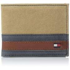 Tommy Hilfiger Mens Khaki Leather Bifold Passcase Billfold Wallet 31TL22X050